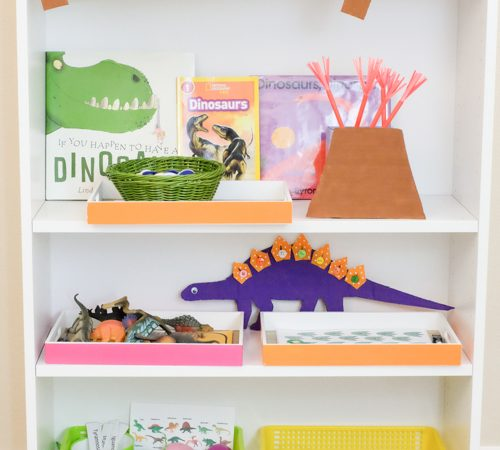 Dinosaur theme learning activities and shelf