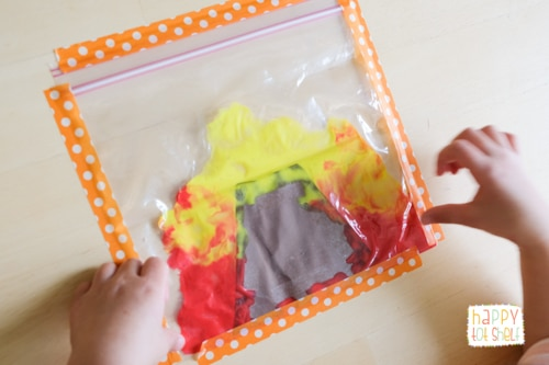 Volcano Eruption Painting in a Ziploc bag