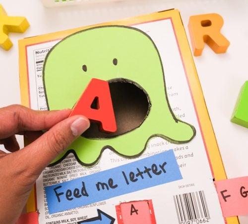 Feed the monster letter activity for preschooler